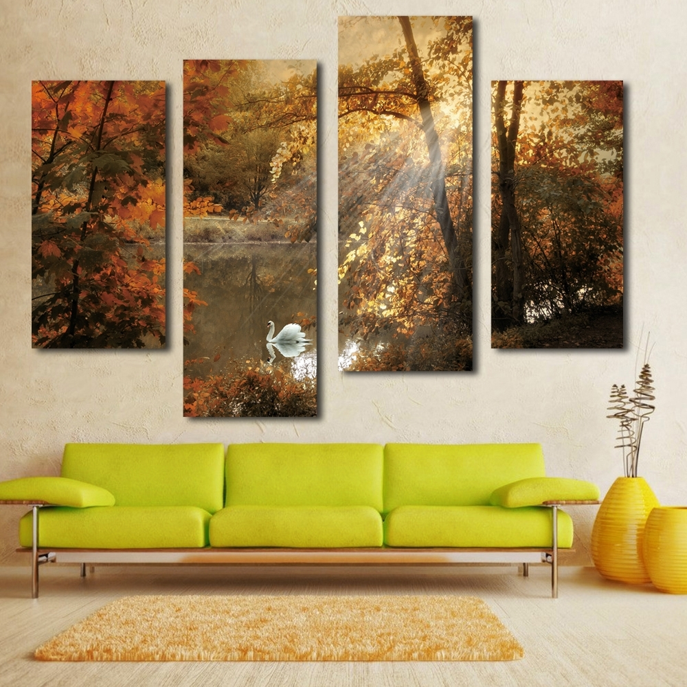 Nice White Swan Painting Fairy Multi Panel Canvas Wall Art Landscape in Well known Multi Panel Wall Art