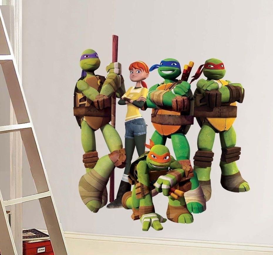 Ninja Turtle Wall Art For Most Popular Wall Decal: Amazing Tmnt Wall Decals Ninja Turtle Stickers Walmart (View 14 of 15)