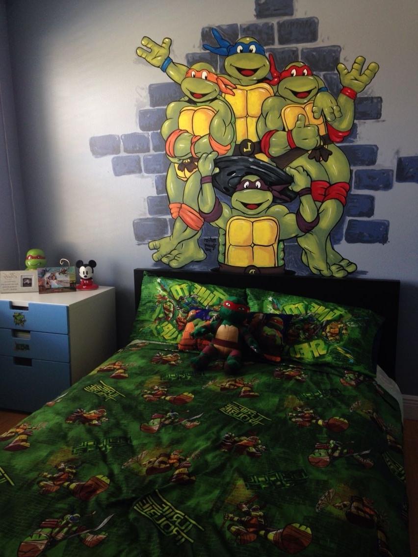 Ninja Turtle Wall Art Pertaining To Favorite Tmnt Hand Painted Wall Mural Boy Room Toddler Preschool Ninja (View 5 of 15)