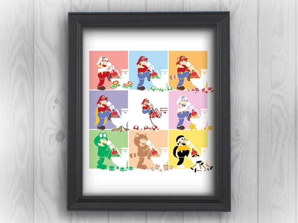 Nintendo Wall Art For Most Popular Super Mario Bros Nes Nintendo Andy Warhol (View 14 of 15)