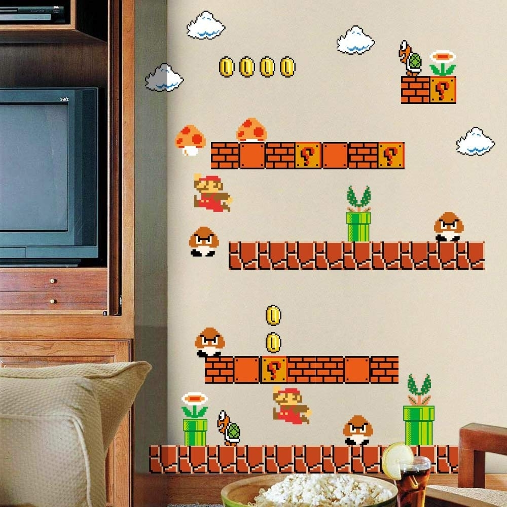 Nintendo Wall Art With Regard To Current Amazon: Homeevolution Giant Super Mario Build A Scene Peel And (View 11 of 15)