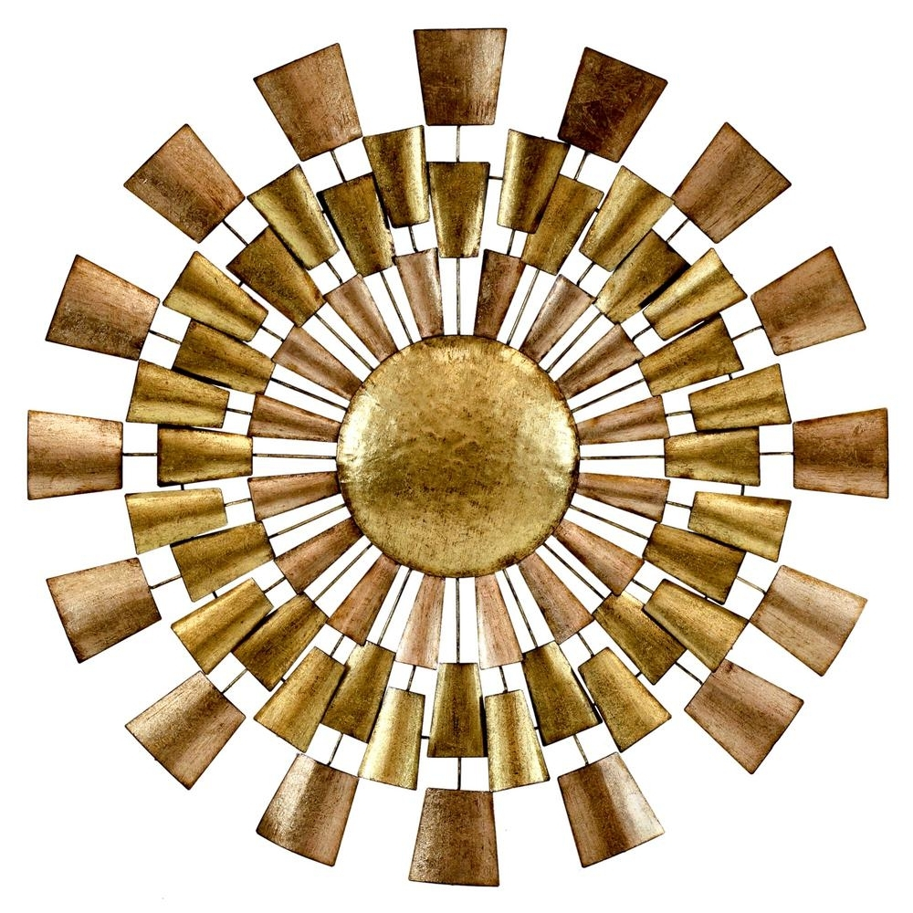 Norah Copper And Gold Metal Wall Decor 5094 – The Home Depot With Current Gold Metal Wall Art (View 3 of 15)