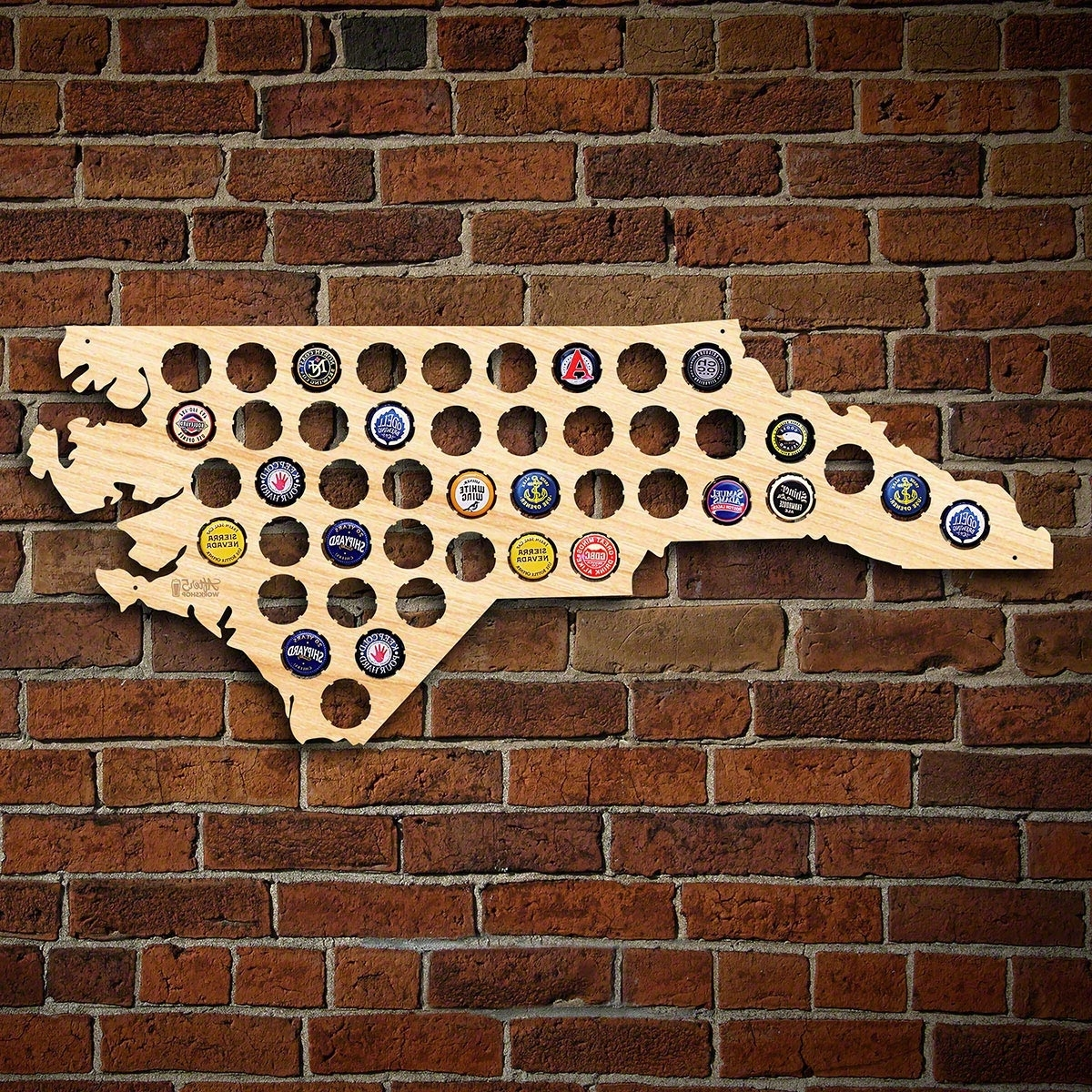 North Carolina Wall Art Within Recent North Carolina Beer Cap Map (View 11 of 15)