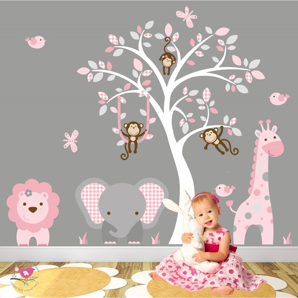 Nursery Wall Art In Recent Jungle Animal Nursery Wall Art Stickers (View 12 of 15)