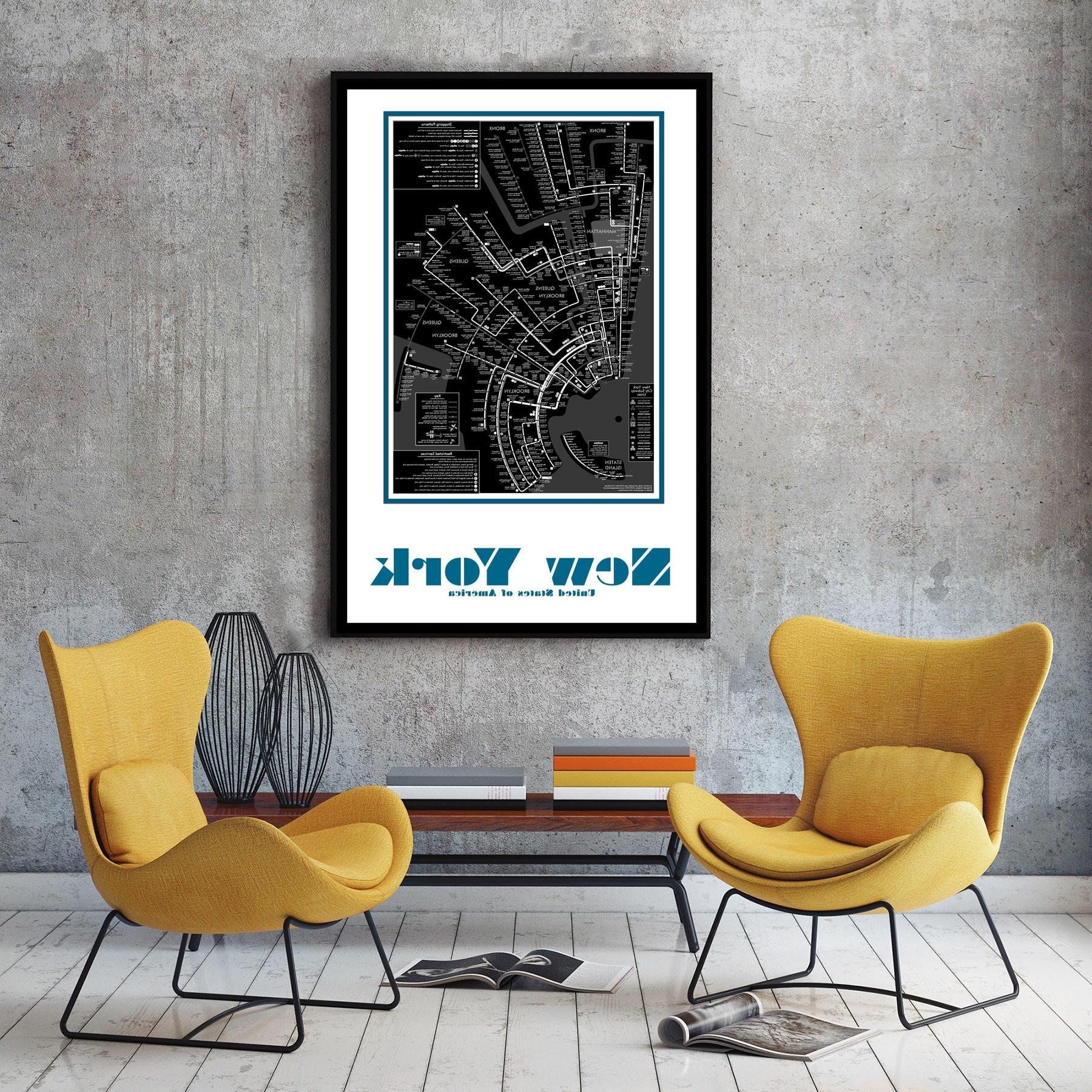 Nyc Subway Map Wall Art For 2018 New York City Subway Map Wall Art Decor (View 11 of 15)