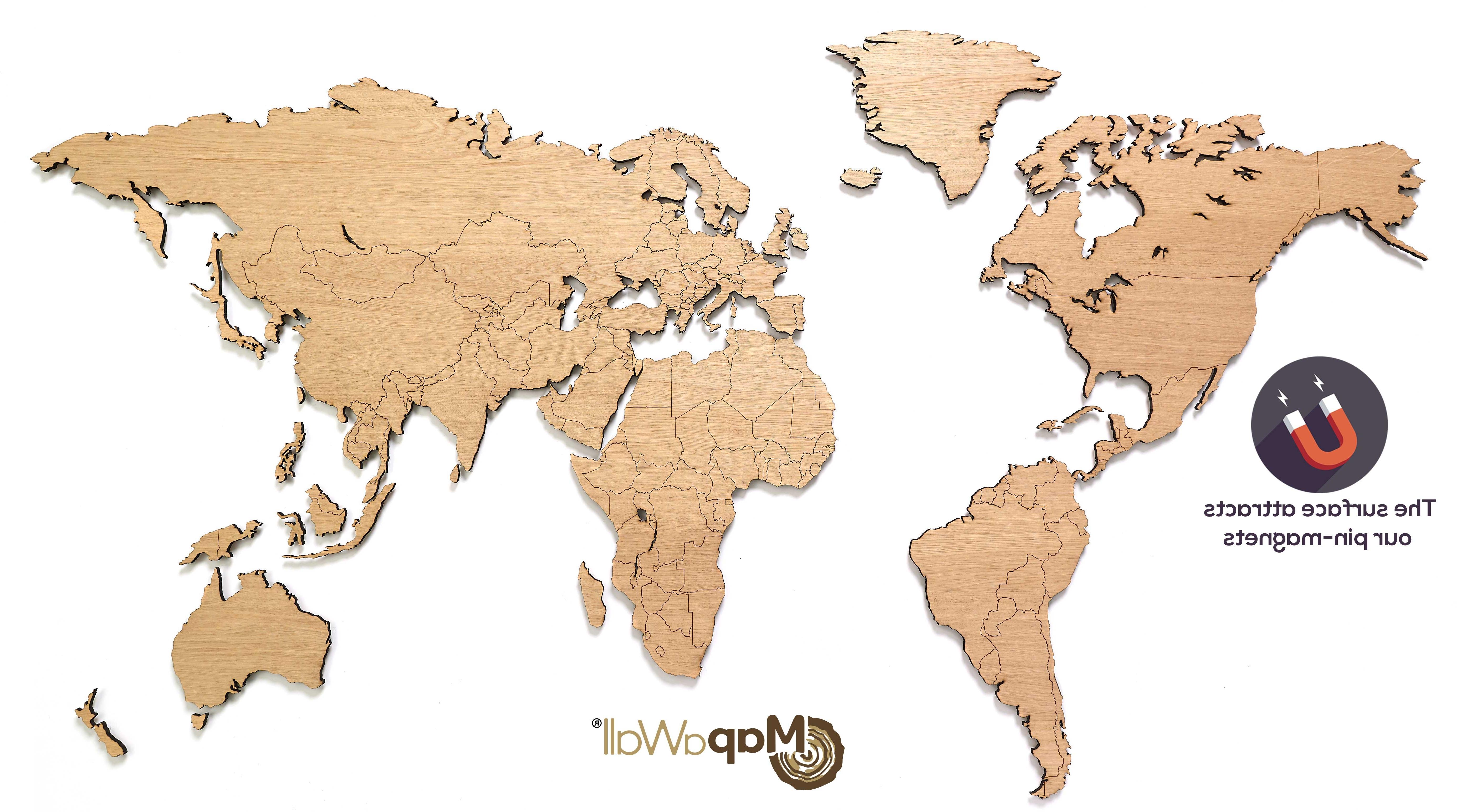 Oak Plain World Map Mapawall Com Inside Wooden Wall Art – Furlongs Regarding Favorite Wooden World Map Wall Art (View 13 of 15)