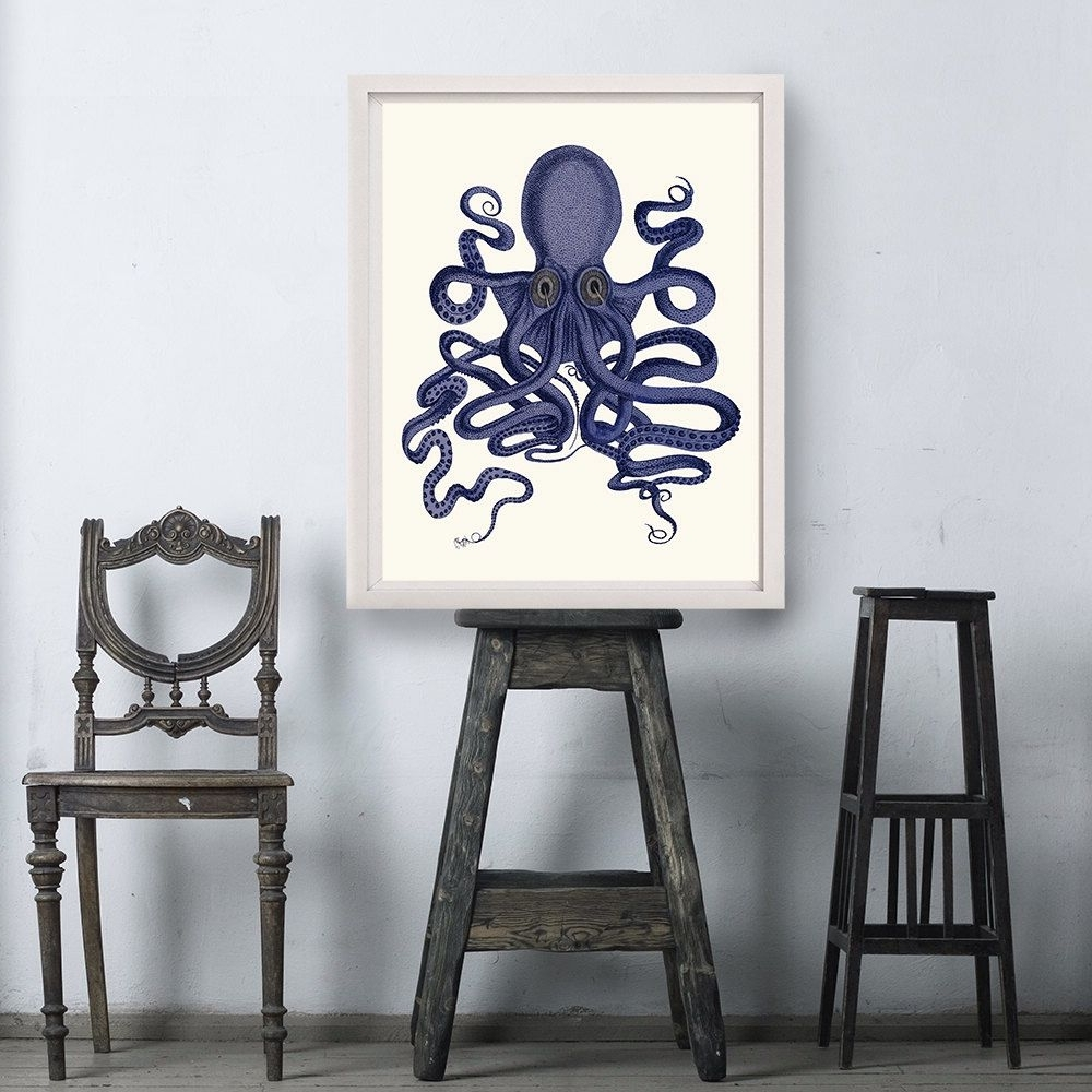 Octopus Print Blue 9  Octopus Wall Art Octopus Poster Octopus Intended For 2018 Octopus Wall Art (View 10 of 15)