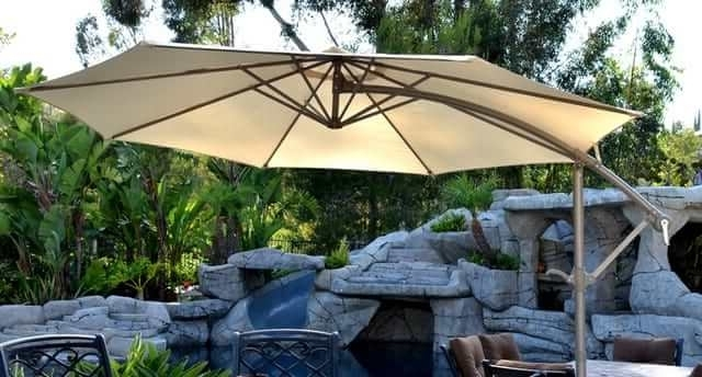 Offset Patio Umbrella – Beige 10' Adjustablequality Patio Umbrellas With Latest Offset Patio Umbrellas (View 9 of 15)