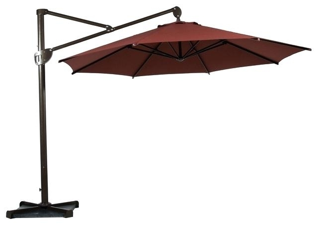 Offset Patio Umbrella With Base Tilted Patio Umbrella Pertaining To Most Popular Tilting Patio Umbrellas (View 3 of 15)
