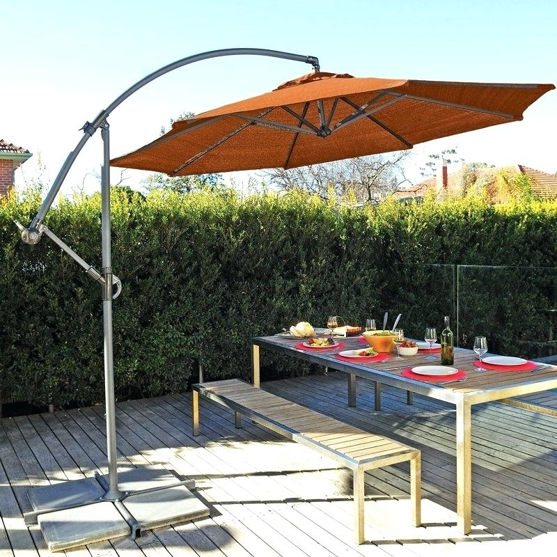 Offset Patio Umbrellas With Base Intended For Recent Unique Offset Patio Umbrella With Base For Resin Heavy Duty Offset (View 7 of 15)