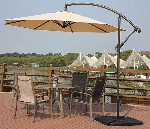 Offset Patio Umbrellas With Base With Fashionable Top 10 Best Offset Patio Umbrellas In  (View 11 of 15)