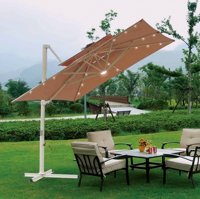 Offset Patio Umbrellas With Well Known Southern Patio 10'x10' Square Aluminum Offset Umbrella (View 6 of 15)