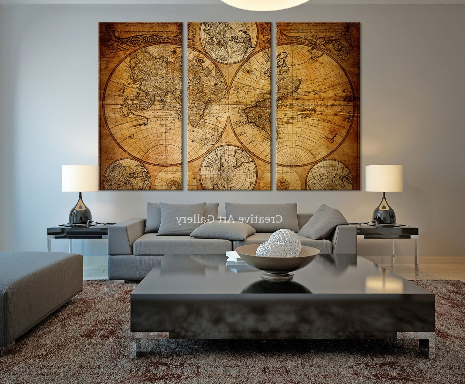 Old World Map Wall Art In Best And Newest Vintage World Map Canvas Art Prints  Rustic World Map Art Canvas (View 2 of 15)