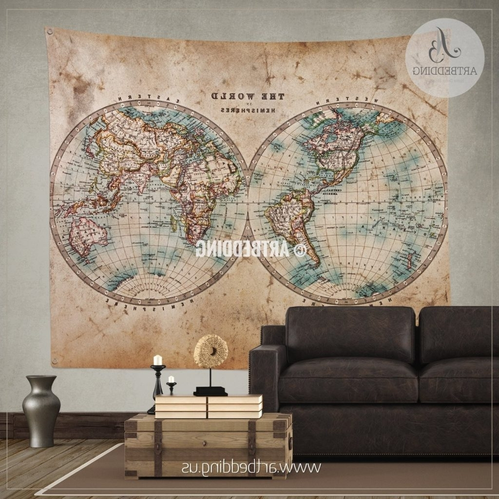 Old World Map Wall Art In Preferred Old 1800 World Map Wall Tapestry Vintage Interior Hanging Decor Art (View 12 of 15)