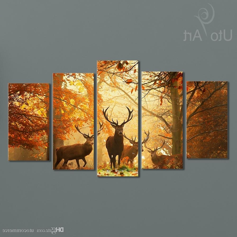 Online Cheap Modern Digital Picture Print On Canvas Animal Deer Intended For Well Liked Custom Wall Art (View 13 of 15)