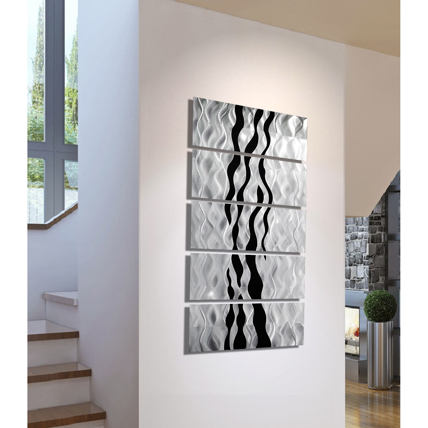 Onyx Oceana – Silver And Black Metal Wall Art – 5 Panel Wall Décor In 2018 Metal Wall Art (View 14 of 15)