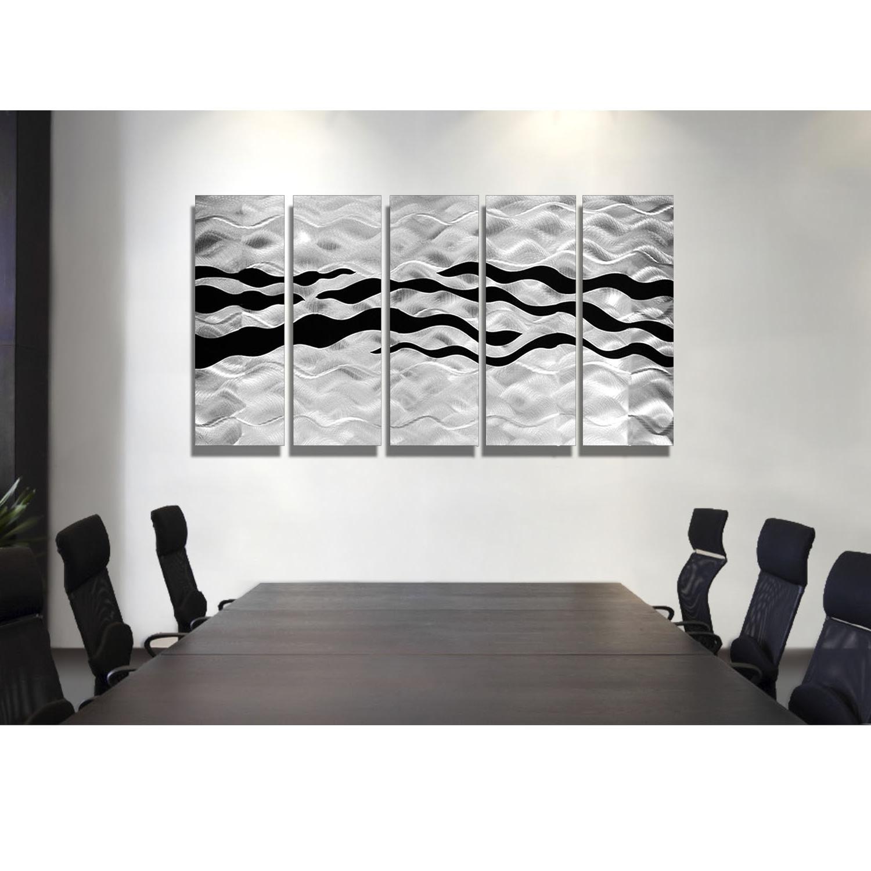 Onyx Oceana – Silver And Black Metal Wall Art – 5 Panel Wall Décor Regarding Recent Black Wall Art (View 3 of 15)
