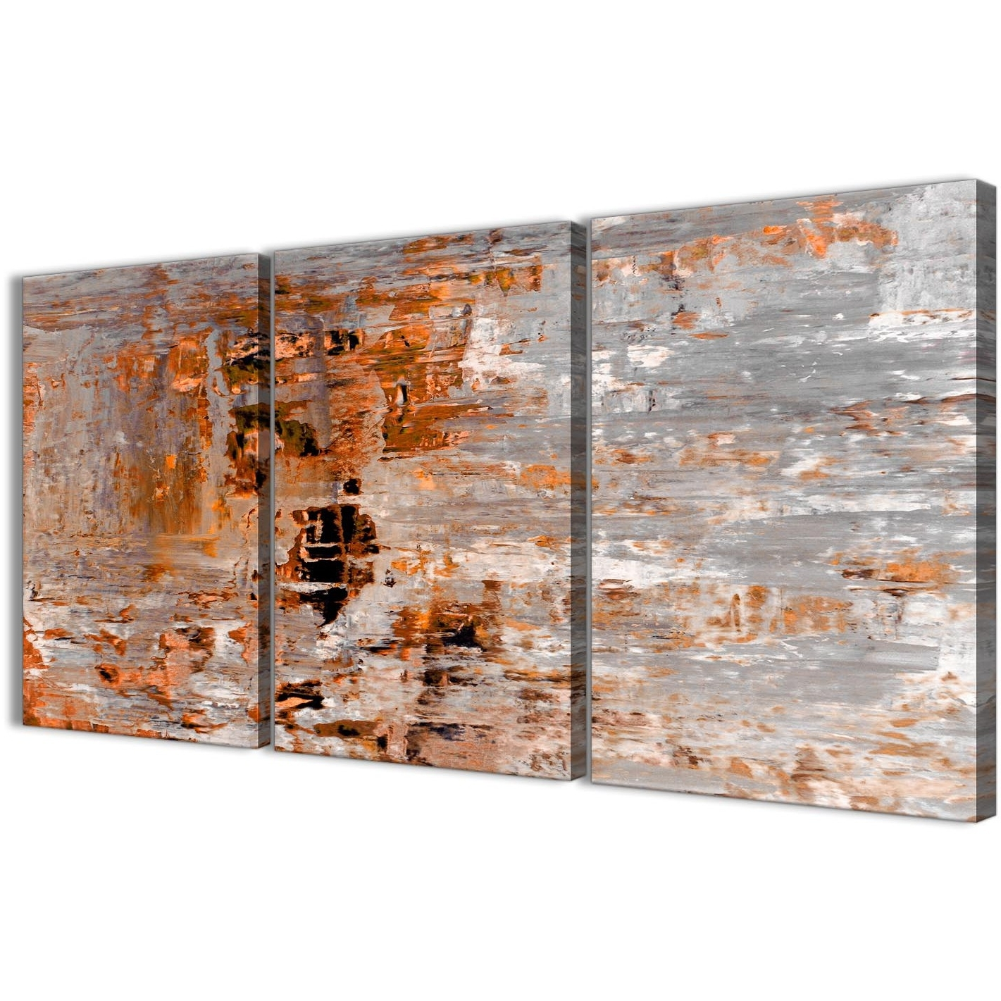 Orange Wall Art Inside Most Recently Released 3 Panel Burnt Orange Grey Painting Dining Room Canvas Wall Art Decor (View 12 of 15)