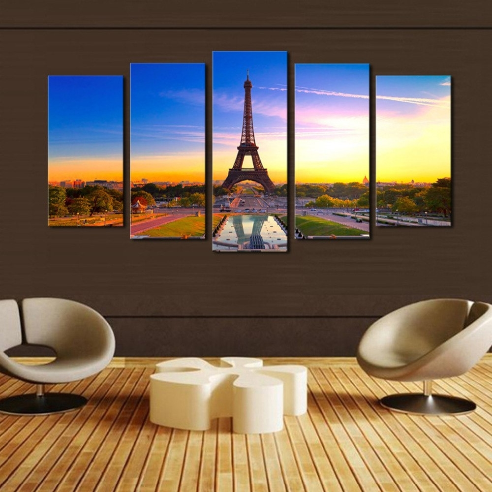 Original Oil Ink Print 5 Pieces Canvas Print Eiffel Tower Painting Inside Preferred 5 Piece Canvas Wall Art (View 12 of 15)