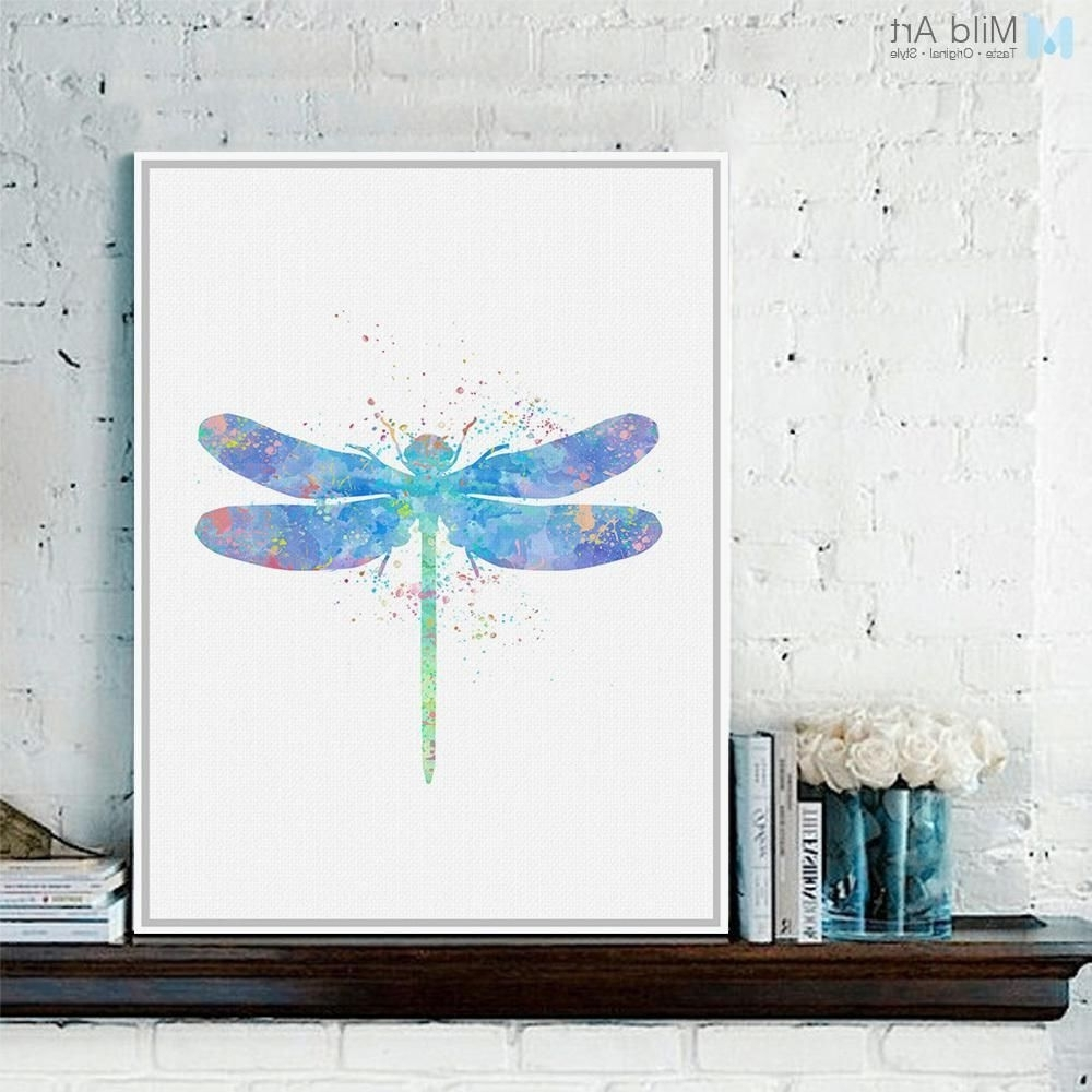 Original Watercolor Dragonfly Poster Prints Animal Picture Hipster Pertaining To Most Recently Released Dragonfly Painting Wall Art (View 12 of 15)