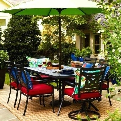 Outdoor Dining Sets With Umbrellas Outdoor Dining Sets With Umbrella Pertaining To Current Patio Dining Umbrellas (View 14 of 15)