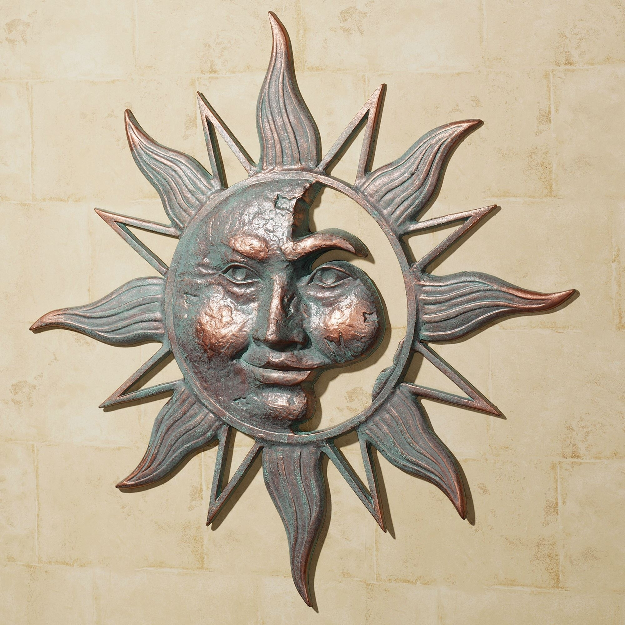 Outdoor Sun Wall Art For Popular Half Face Sun Indoor Outdoor Metal Wall Art (View 8 of 15)