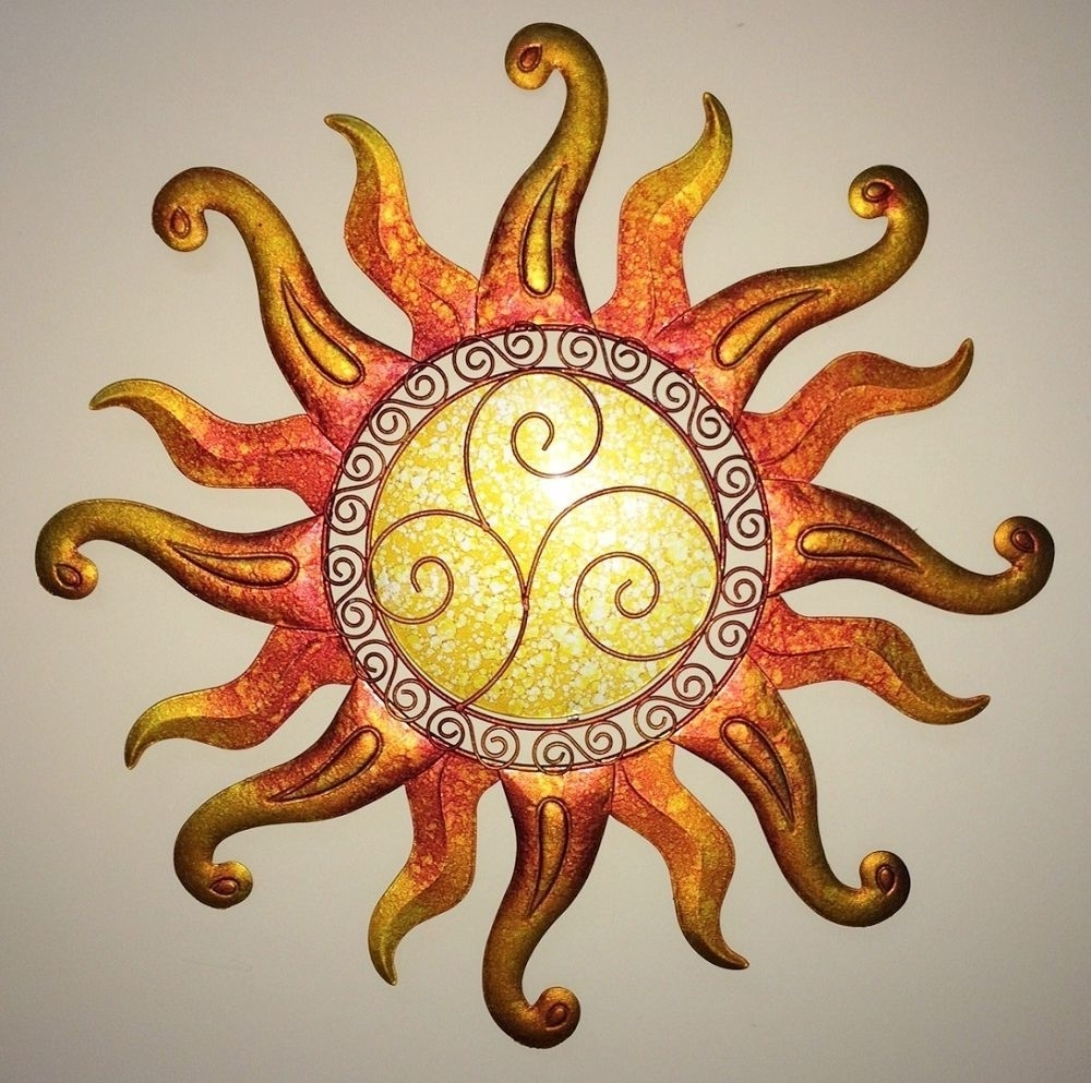 Outdoor Sun Wall Art Regarding Most Recent Swirl Sun Wall Art Glass & Metal Sunburst Decor Sculpture Indoor (View 12 of 15)