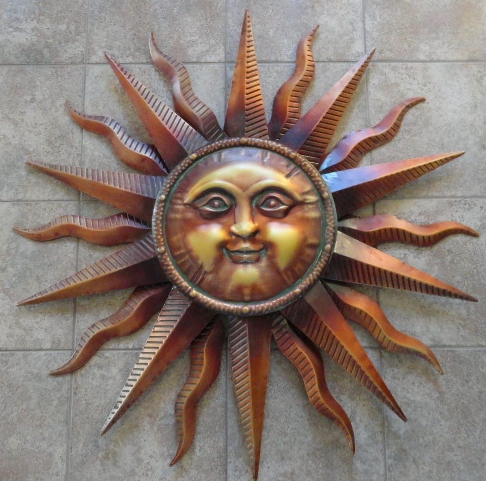 Outdoor Sun Wall Art Within Best And Newest Copper Patina Sun Metal Wall Art Large Outdoor Wall Art  (View 13 of 15)