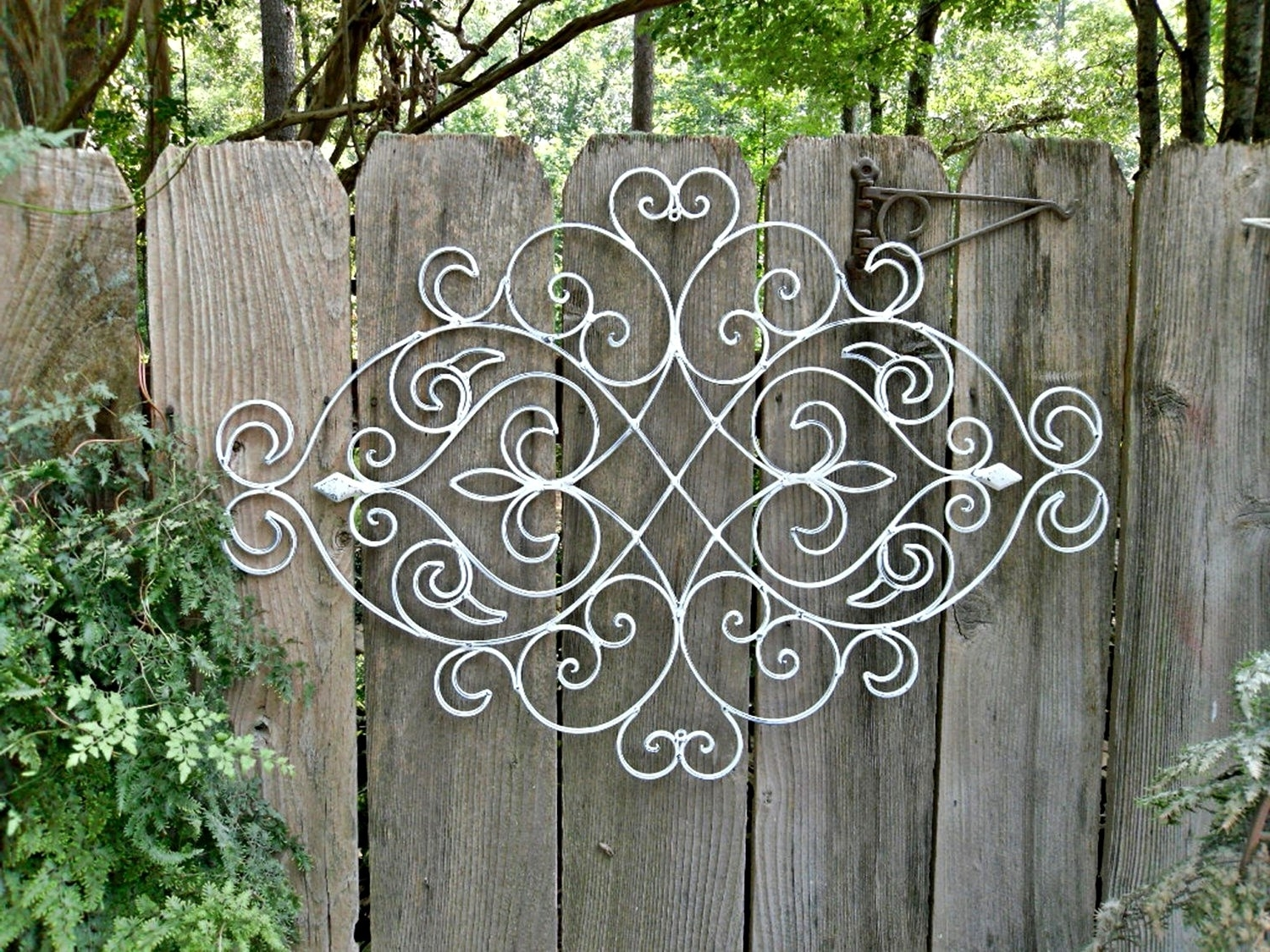 Outdoor Wall Art Wrought Iron Corner Large Metal Decorative Black Within Widely Used Outdoor Metal Wall Art (View 12 of 15)