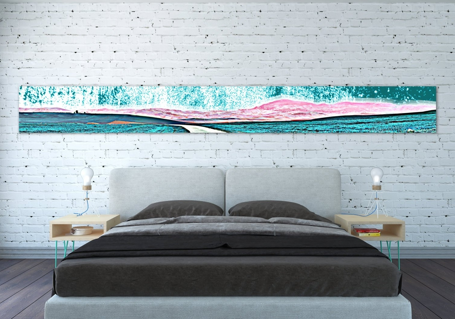 Oversized Teal Canvas Wall Art For Most Recent Canvas Print Horizontal Extra Long Narrow Large Abstract Wall Art (View 8 of 15)
