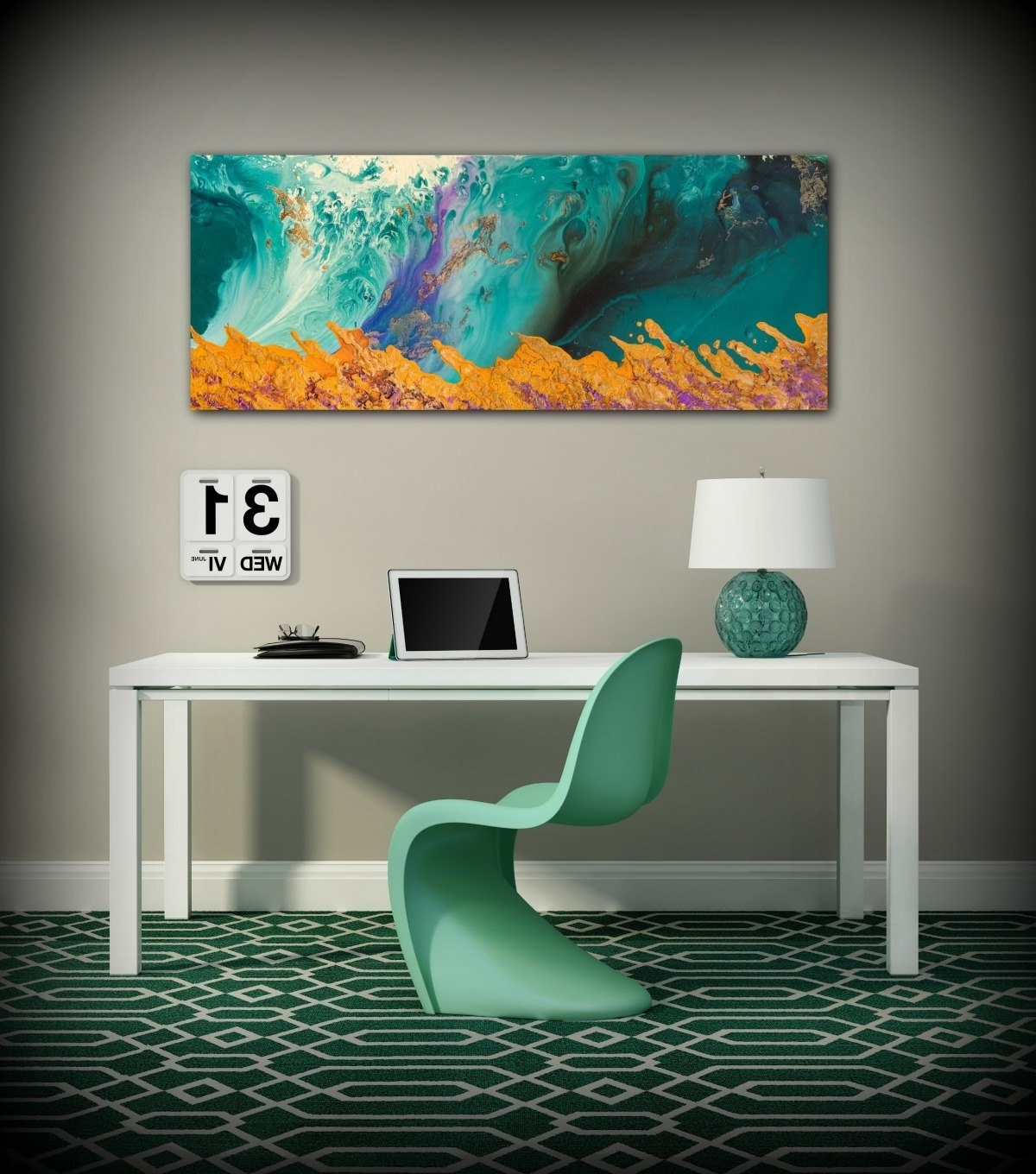 Oversized Teal Canvas Wall Art Intended For Most Current Canvas Print Wall Decor Large Abstract Wall Art Teal And Orange (View 9 of 15)