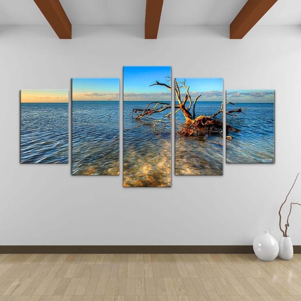 Overstock Wall Art Inside 2017 Bruce Bain 'ocean View' 5 Piece Canvas Wall Art (View 9 of 15)