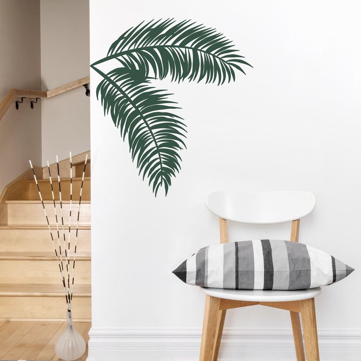 Palm Leaves Wall Decal  Tropical Wall Art, Palm Tree Decal, Hawaiian Inside Well Liked Palm Tree Wall Art (View 9 of 15)