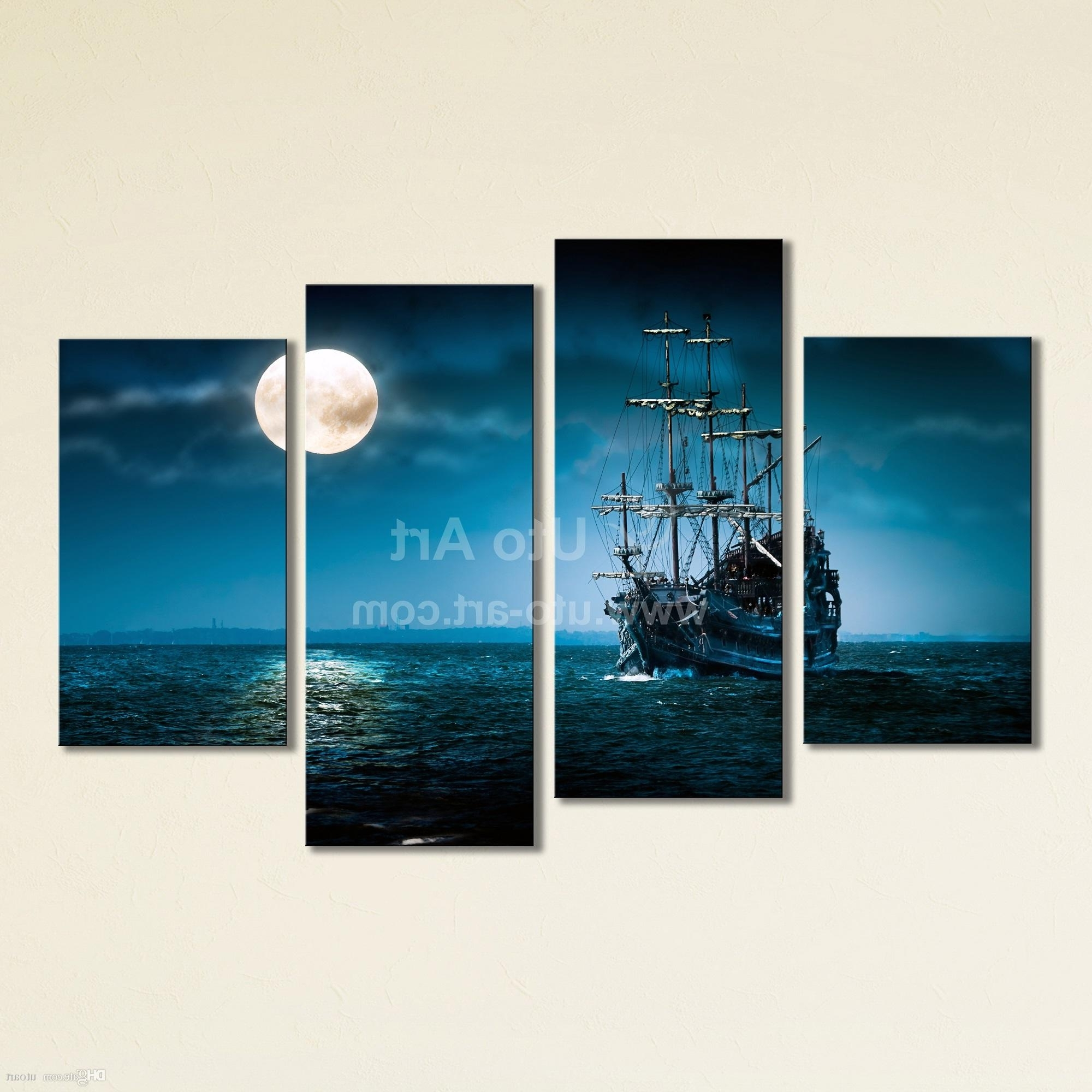 Panel Wall Art With Regard To Well Liked 2018 Large 4 Panel Wall Art Painting Sailing Ship Canvas Wall (View 7 of 15)