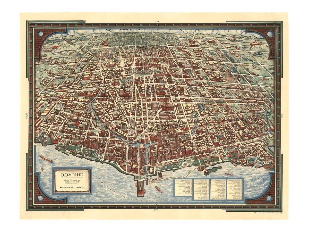 Panoramic Map Of Chicago – Old Maps And Prints – Vintage Wall Decor For 2017 Chicago Map Wall Art (View 6 of 15)