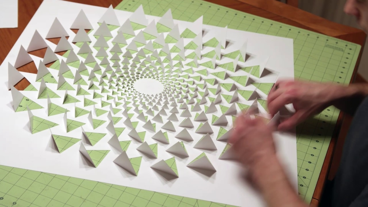 Paper Wall Art With Regard To Popular 3D Optical Illusion Mandala Wall Art Using One Sheet Of Paper – Youtube (View 10 of 15)