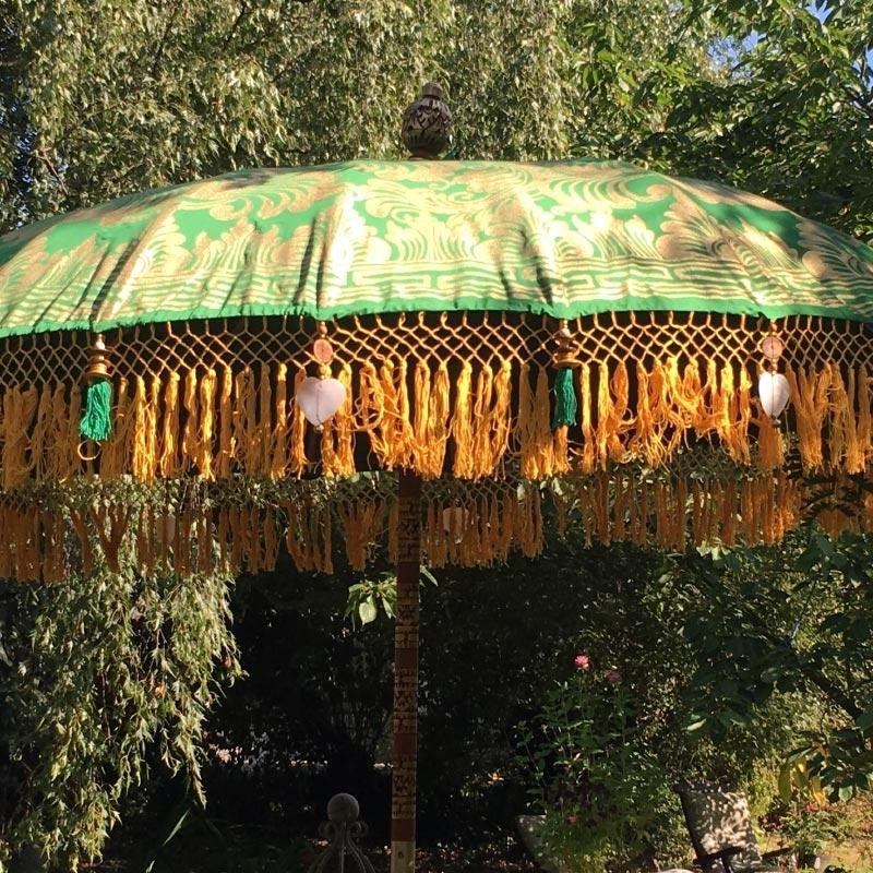 Paradise Island Collection Medium Size Luxury Garden Parasol Emerald In Favorite Jewel Patio Umbrellas (View 12 of 15)