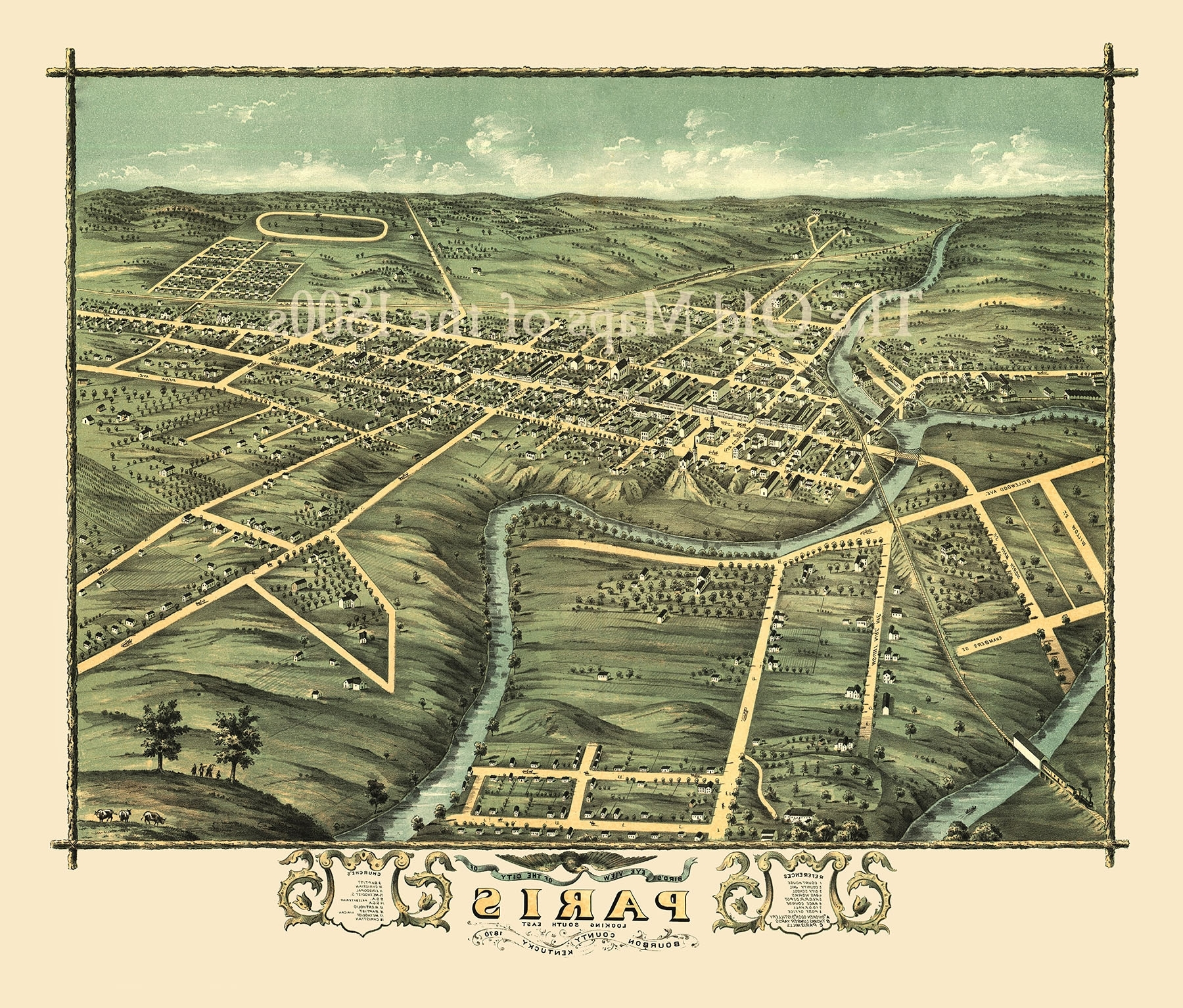 Paris, Kentucky In 1870 – Bird's Eye View Map, Aerial Map, Panorama With Regard To Most Current Map Of Paris Wall Art (View 11 of 15)