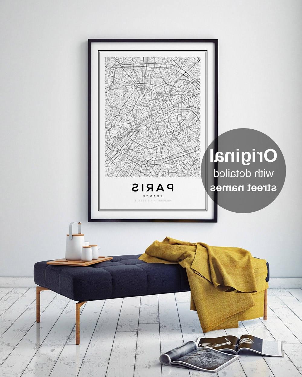 Paris Map Print, Paris Carte, Paris City, Paris Map Poster, France Within Well Liked Map Of Paris Wall Art (View 10 of 15)