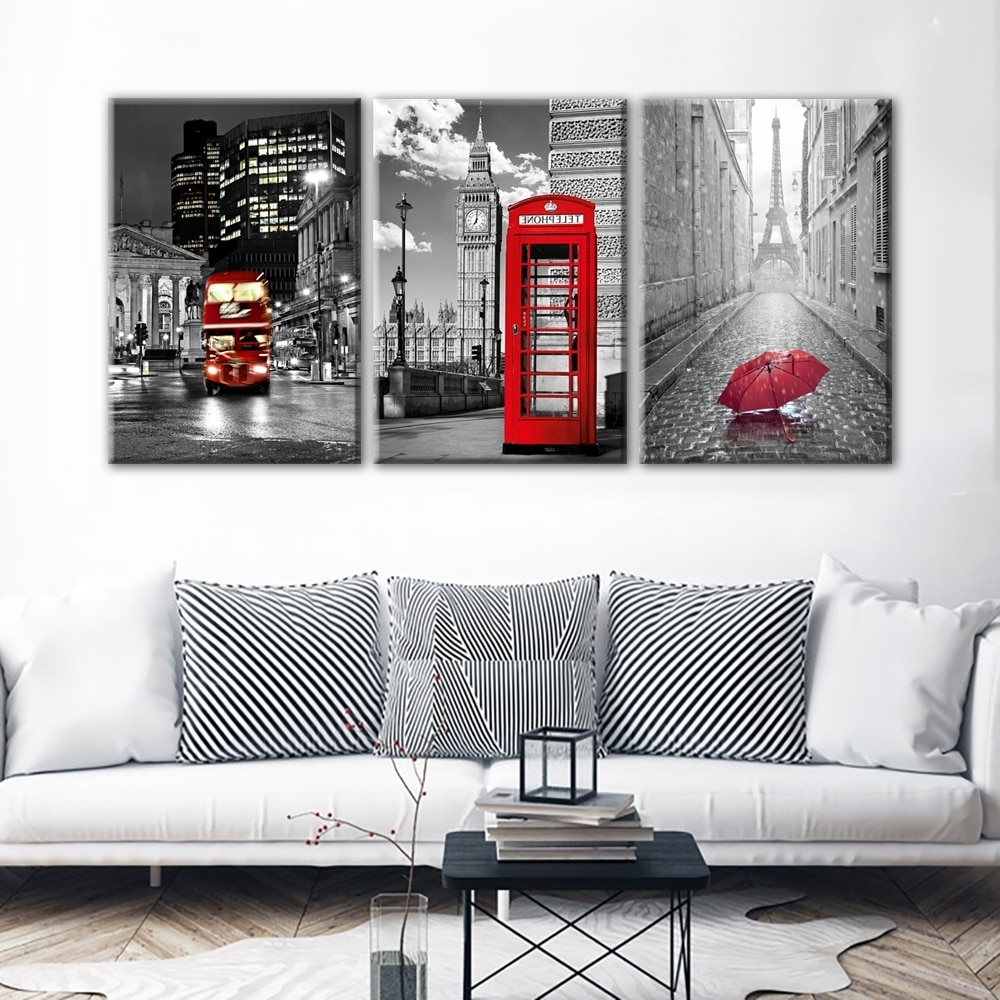 Paris Wall Art With Regard To Most Recently Released Jie Do Art Modern Wall Art Framework Canvas Pictures 3 Pieces Paris (View 2 of 15)