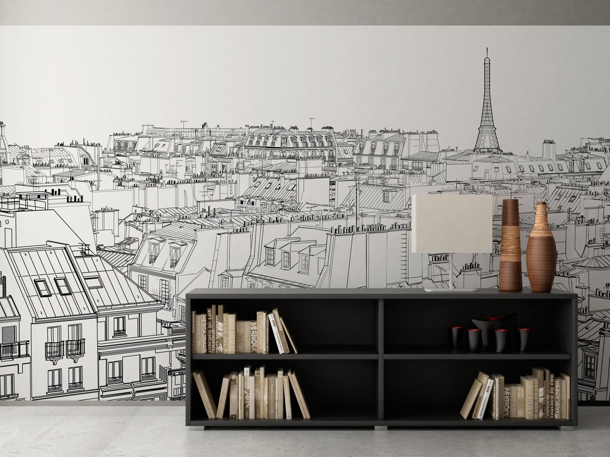 Paris Wall Art With Regard To Most Up To Date Paris Outlines Wall Art – Moonwallstickers (View 1 of 15)