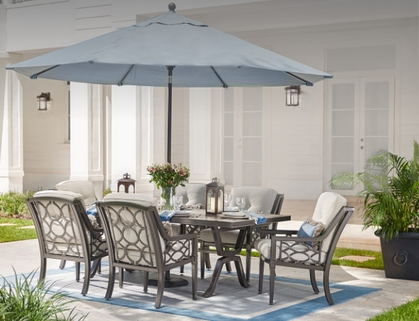 Patio Deck Umbrellas Intended For Newest Outdoor Dining Furniture At The Home Depot (View 14 of 15)