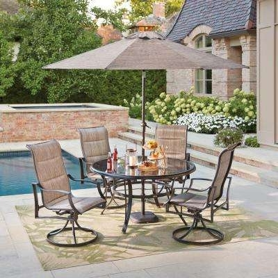Patio Dining Sets – Patio Dining Furniture – The Home Depot Within Most Current Patio Table Sets With Umbrellas (View 7 of 15)