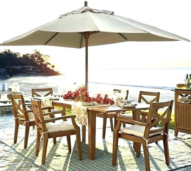 Patio Dining Sets With Umbrellas With Regard To Recent Patio Dining Sets With Umbrella Black Steel 5 Piece Outdoor Dining (View 15 of 15)