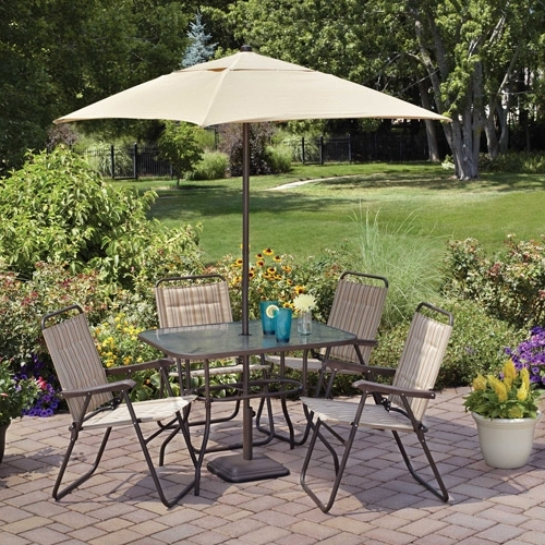 Patio Dining Umbrellas With Widely Used Enchanting Outdoor Dining Set With Umbrella In Mainstays Glenmeadow (View 6 of 15)