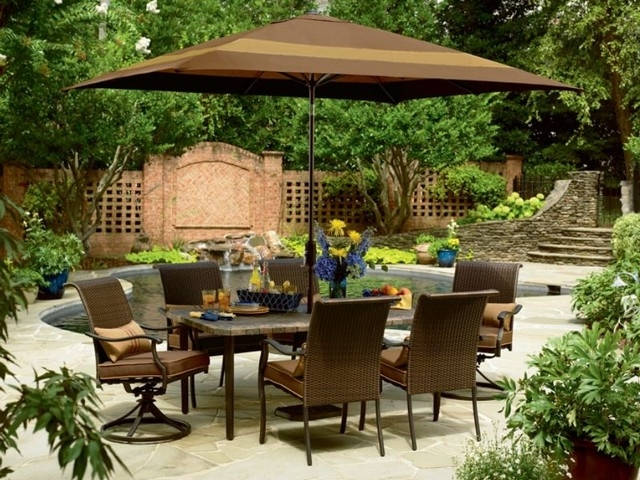 Patio Furniture Dining Sets With Umbrella (View 8 of 15)