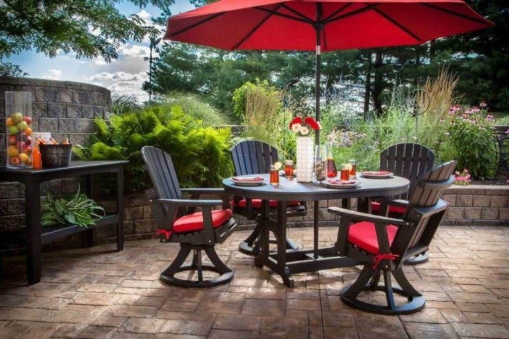 Patio Set With Umbrella Tables Umbrellas Furniture Ideas Pinterest Within 2018 Patio Tables With Umbrellas (View 2 of 15)