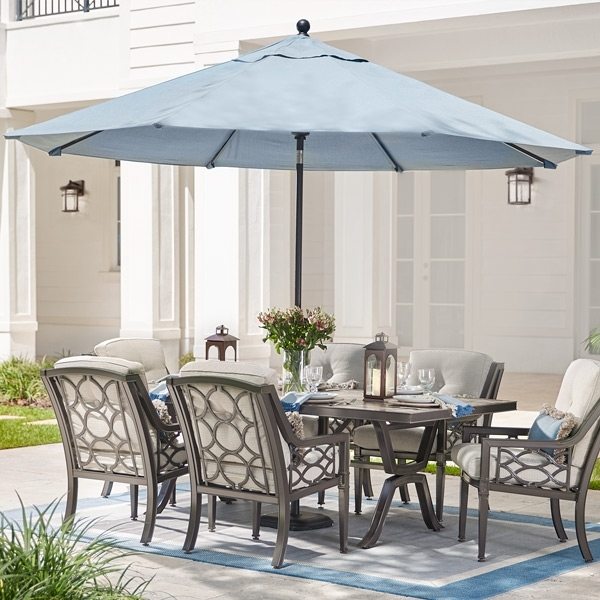 Patio Sets With Umbrellas Regarding Famous Glamorous Patio Table Umbrellas The Home Depot (View 8 of 15)