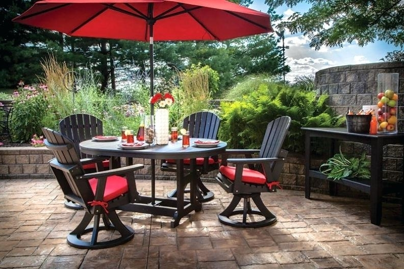 Patio Table Sets With Umbrellas Intended For Newest Outdoor Table And Chairs Set With Umbrella Poly Dining Setfarms (View 9 of 15)
