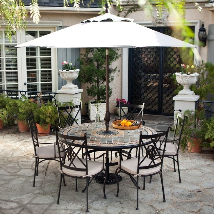 Patio Table Sets With Umbrellas Pertaining To Recent Patio: Awesome Patio Dining Set With Umbrella Cheap Patio Sets With (View 7 of 15)